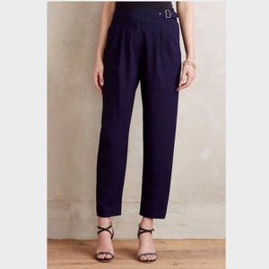 CARTONNIER Navy Belted Pleated Trousers 14